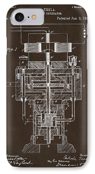 IPhone Case featuring the drawing 1894 Tesla Electric Generator Patent Espresso by Nikki Marie Smith