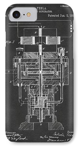 IPhone Case featuring the drawing 1894 Tesla Electric Generator Patent Gray by Nikki Marie Smith