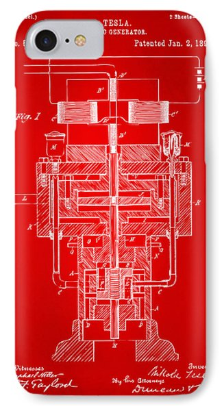 IPhone Case featuring the drawing 1894 Tesla Electric Generator Patent Red by Nikki Marie Smith