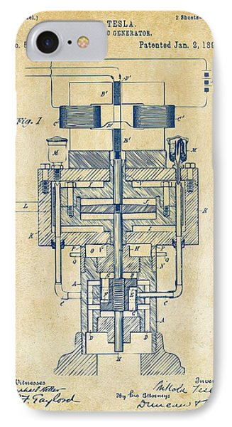 1894 Tesla Electric Generator Patent Vintage IPhone Case by Nikki Marie Smith