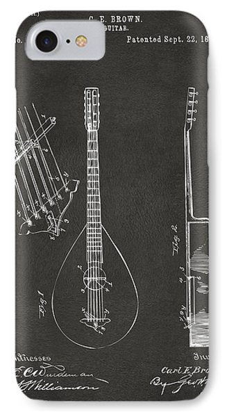 1896 Brown Guitar Patent Artwork - Gray IPhone Case by Nikki Marie Smith
