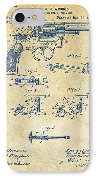 1896 Wesson Safety Device Revolver Patent Artwork - Vintage IPhone Case