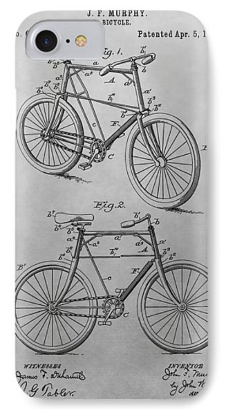 1898 Bicycle Patent Drawing IPhone Case by Dan Sproul