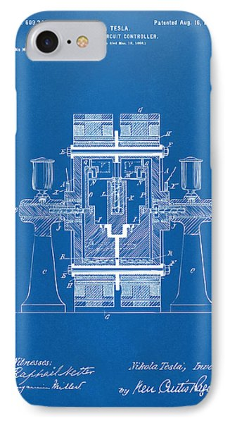 1898 Tesla Electric Circuit Patent Artwork - Blueprint IPhone Case by Nikki Marie Smith