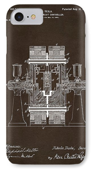 IPhone Case featuring the drawing 1898 Tesla Electric Circuit Patent Artwork Espresso by Nikki Marie Smith