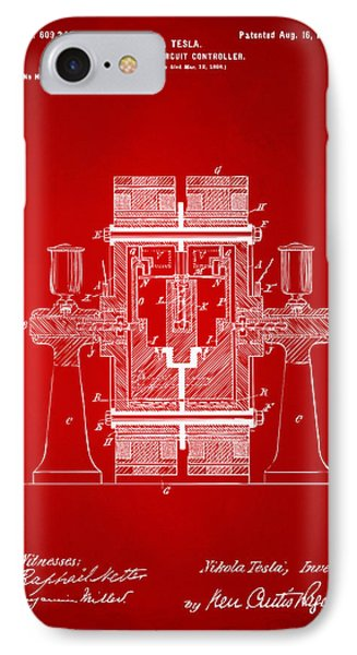 1898 Tesla Electric Circuit Patent Artwork - Red IPhone Case by Nikki Marie Smith