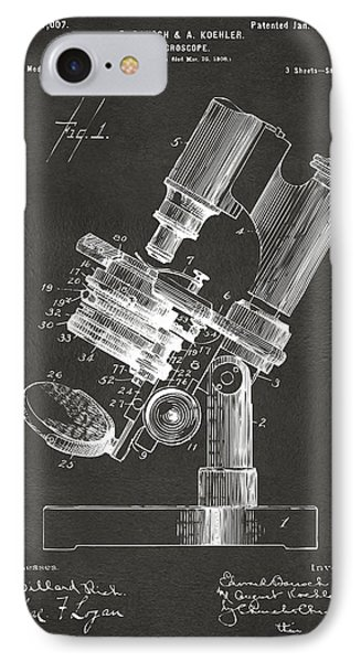 1899 Microscope Patent Gray IPhone Case by Nikki Marie Smith