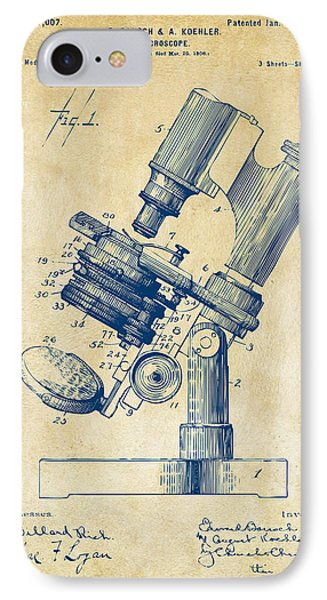 1899 Microscope Patent Vintage IPhone Case by Nikki Marie Smith