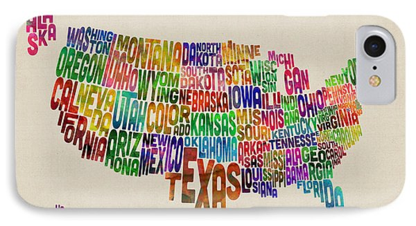United States Typography Text Map IPhone Case by Michael Tompsett