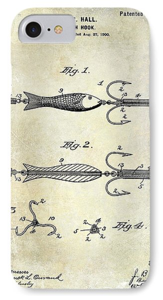 1900 Fishing Hook Patent Drawing IPhone 7 Case