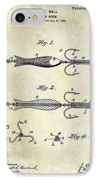 1900 Fishing Hook Patent Drawing IPhone Case