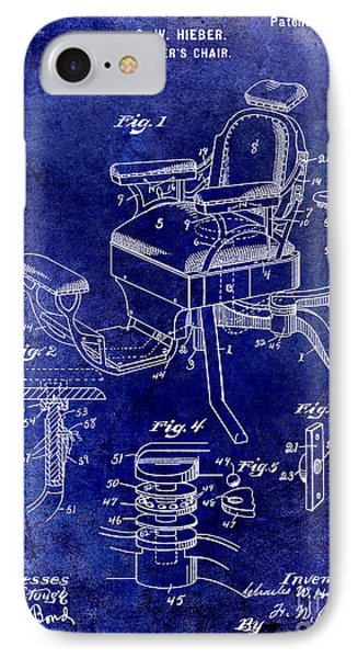 1901 Barber Chair Patent Drawing Blue IPhone Case by Jon Neidert