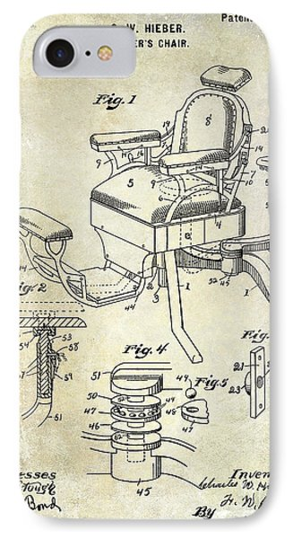 1901 Barber Chair Patent Drawing  IPhone Case by Jon Neidert