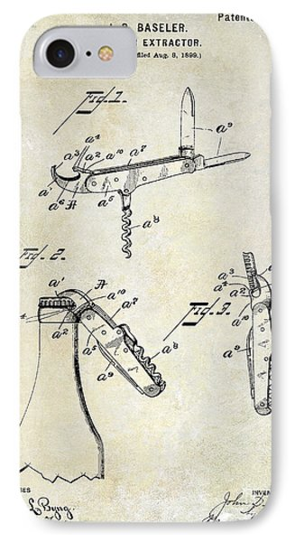 1901 Corkscrew Patent Drawing IPhone Case