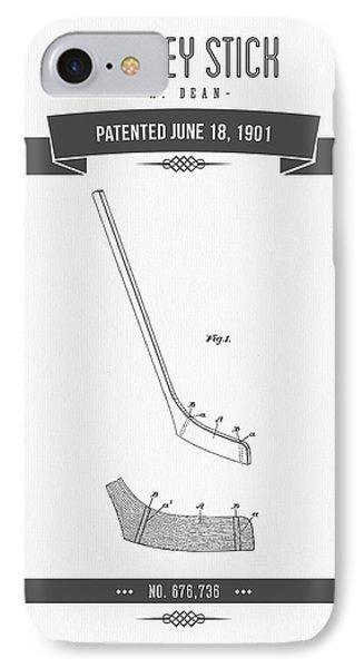 1901 Hockey Stick Patent Drawing - Retro Gray IPhone Case