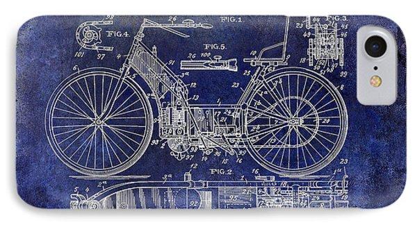1901 Motorcycle Patent Drawing Blue IPhone Case by Jon Neidert