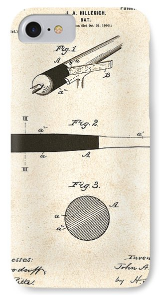 1902 Baseball Bat Patent Phone Case by Bill Cannon