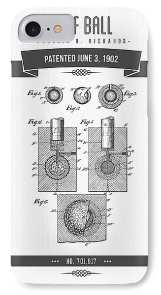 1902 Golf Ball Patent Drawing - Retro Gray IPhone Case by Aged Pixel