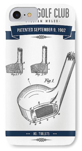 1902 Mules Golf Club Patent Drawing - Retro Navy Blue IPhone Case by Aged Pixel