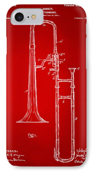 Trombone iPhone 7 Case - 1902 Slide Trombone Patent Artwork Red by Nikki Marie Smith