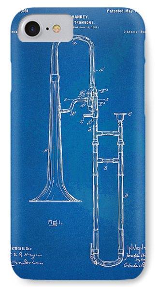 1902 Slide Trombone Patent Blueprint Phone Case by Nikki Marie Smith