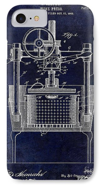 1902 Wine Press Patent Drawing Blue IPhone Case
