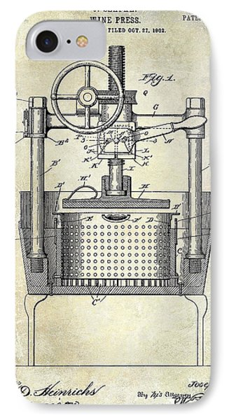 1902 Wine Press Patent Drawing IPhone Case