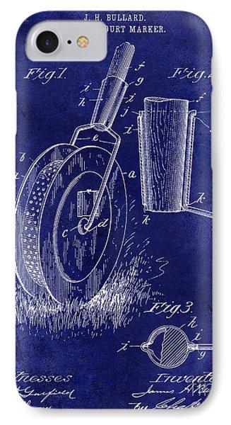 1903 Tennis Court Marker Patent Drawing Blue IPhone Case by Jon Neidert