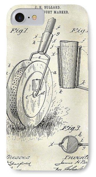1903 Tennis Court Marker Patent Drawing IPhone Case by Jon Neidert