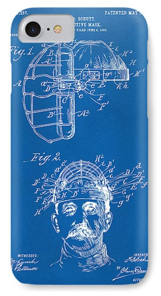 1904 Baseball Catchers Mask Patent Artwork - Blueprint IPhone Case by Nikki Marie Smith