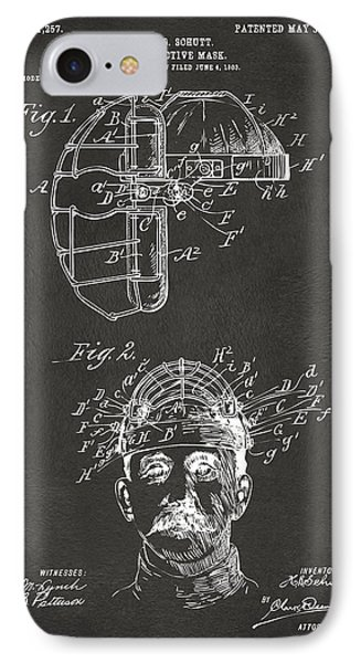 1904 Baseball Catchers Mask Patent Artwork - Gray IPhone Case by Nikki Marie Smith