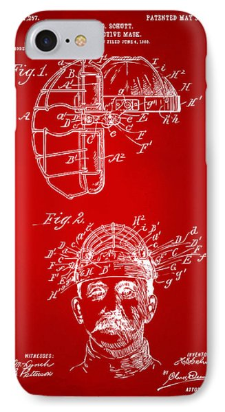 1904 Baseball Catchers Mask Patent Artwork - Red IPhone Case by Nikki Marie Smith
