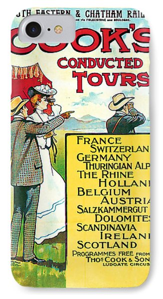 IPhone Case featuring the mixed media 1904 Cooks Conduted Tours Vintage Travel Art by Presented By American Classic Art
