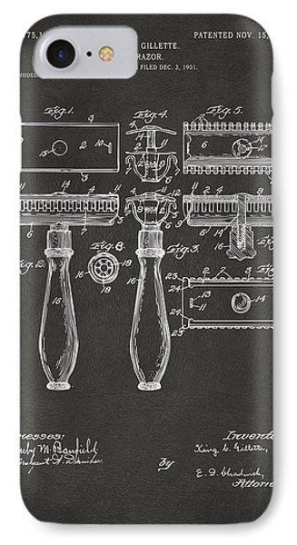 1904 Gillette Razor Patent Artwork - Gray IPhone Case