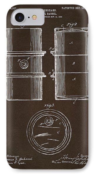 IPhone Case featuring the drawing 1905 Oil Drum Patent Artwork Espresso by Nikki Marie Smith