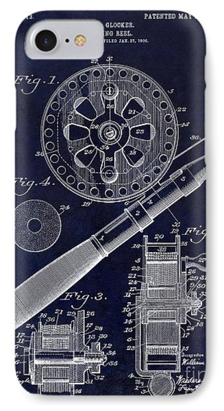 1906 Fishing Reel Patent Drawing Blue IPhone Case