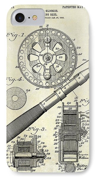 1906 Fishing Reel Patent Drawing IPhone 7 Case by Jon Neidert