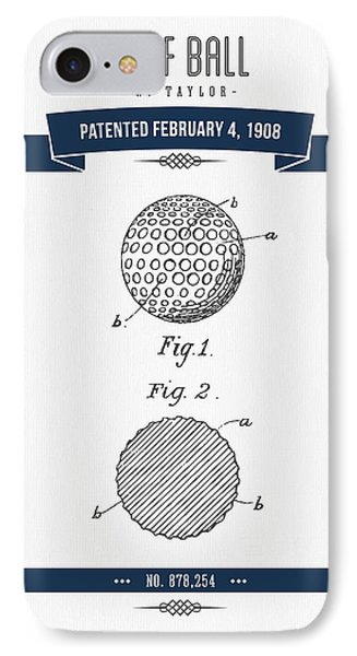 1908 Taylor Golf Ball Patent Drawing - Retro Navy Blue IPhone Case by Aged Pixel