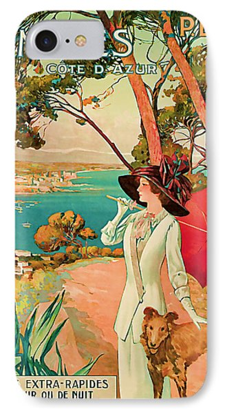 IPhone Case featuring the mixed media 1910 Antibes Vintage Travel Art  by Presented By American Classic Art