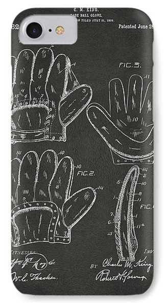 1910 Baseball Glove Patent Artwork - Gray IPhone Case