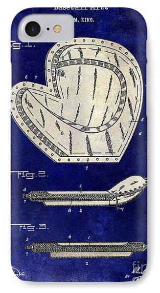 1910 Baseball Patent Drawing 2 Tone Blue IPhone Case by Jon Neidert