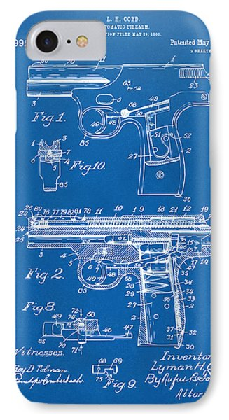 1911 Automatic Firearm Patent Artwork - Blueprint IPhone Case by Nikki Marie Smith