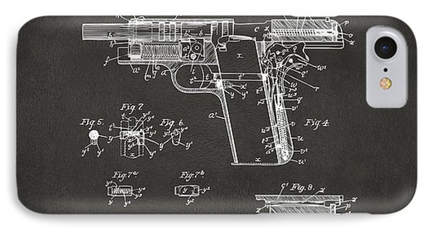 1911 Colt 45 Browning Firearm Patent 2 Artwork - Gray IPhone Case