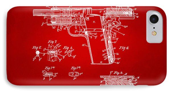 1911 Colt 45 Browning Firearm Patent 2 Artwork Red IPhone Case