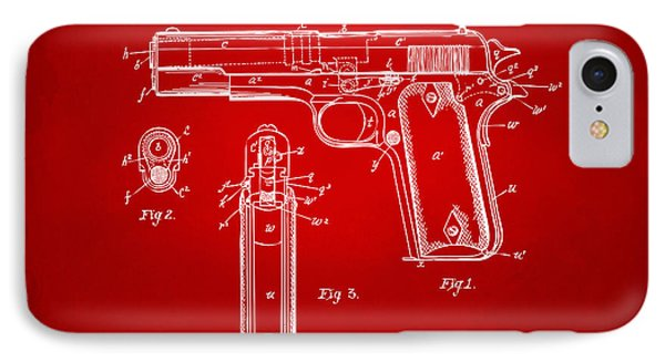 1911 Colt 45 Browning Firearm Patent Artwork Red IPhone Case