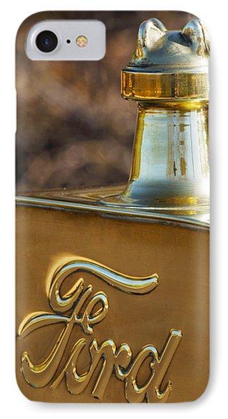 1911 Ford Model T Torpedo 4 Cylinder 25 Hp Hood Ornament  Emblem Phone Case by Jill Reger
