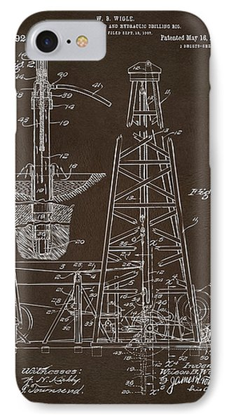 IPhone Case featuring the drawing 1911 Oil Drilling Rig Patent Artwork - Espresso by Nikki Marie Smith