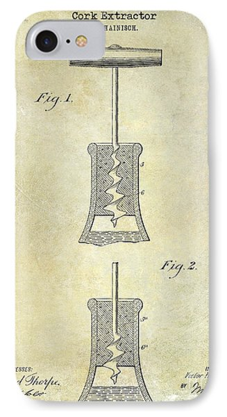 1913 Cork Extractor Patent Drawing  IPhone Case by Jon Neidert