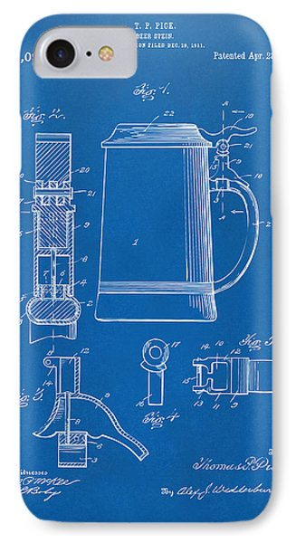 1914 Beer Stein Patent Artwork - Blueprint Phone Case by Nikki Marie Smith