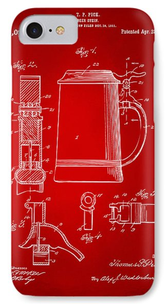 1914 Beer Stein Patent Artwork - Red Phone Case by Nikki Marie Smith